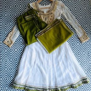 Other - white & green anarkali Kurta w/pants & dupatta.